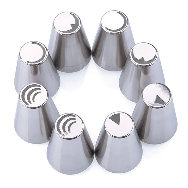 Wholesale- High Quality Kitchen DIY 8Pcs/Set Kitchen Cake Decor Tools Russian Tulip Icing Piping Nozzles Tips Russia Nozzles #86715