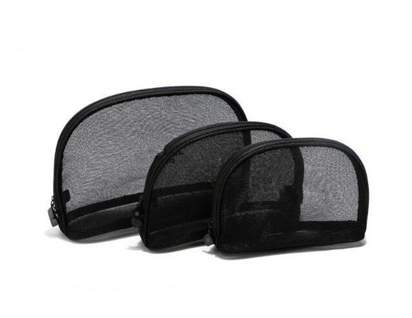 Fashion black gauze makeup bag visible mesh yarn cosmetics bag organizer S/M/L or 3 pieces a set