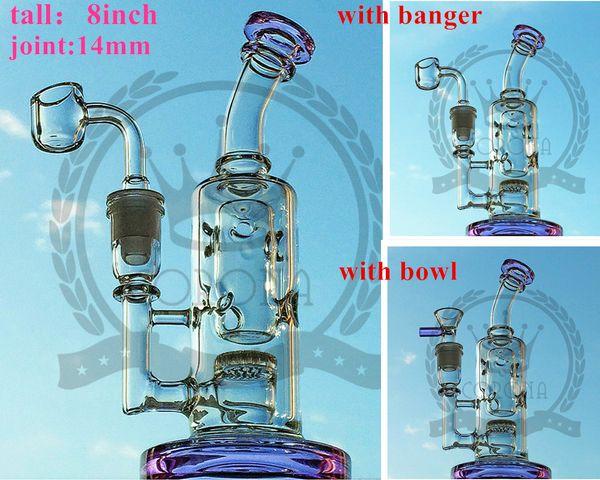 Hitman bong Mobius Matrix fab egg ash Recycler mini glass bongs tall Pink green blue purple oil rig color corona hitman dab brown water pipe