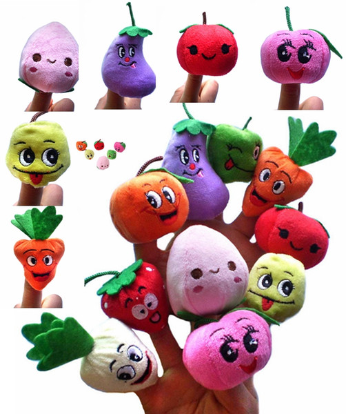 best selling 500PCS LOT Soft Fruit & Veggie finger puppets set Finger Puppet Dolls Toys Story-telling Props Tools Toy Model Babies Kids Children Toys