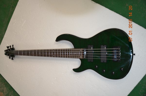 left hand bass guitar 5 string electric bass guitar Quilted Green maple body Bolt-on