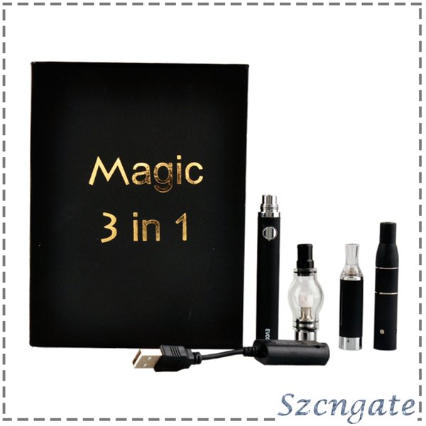 Magic 3 in 1 Wax Vaporizer Pen Kit Dry Herb E-cigarette Kits atomizer MT3 Glass atomizer EVOD Battery 650mah 900mah 1100mah 0211170-2