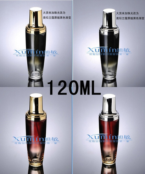 E2 Capacidad 120ml envío libre 200pcs / lot del oro al por mayor de alta calidad loción Botella de vidrio de la bomba El vidrio esmerilado