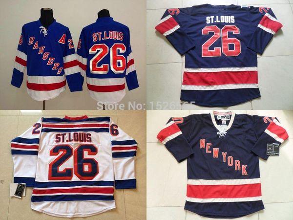 Cheap Men's Los New York Rangers #26 Martin St.Louis Jersey Dark Third Lacing Neck Vintage NY Rangers Sewn Hockey Jerseys