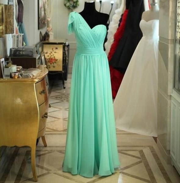 Long Bridesmaid Dresses One Shoulder Ruffles Formal Evening Gowns for Maid of Honor Cheap Dresses