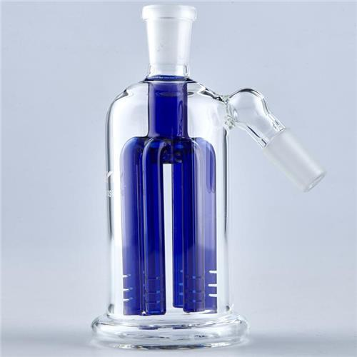 Inline Ash Catcher 4 Arm Percolator Recycler Glass Bubbler Blue 14.4 mm or 18.8mm Joint Smoking Accessories Hand Blown Glass Bongs Parts