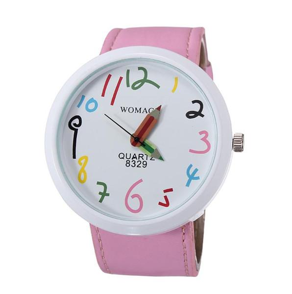 2018 new fashion children watch lovely little girl leather straps watches pencil cartoon watch students quartz wristwatch pink black