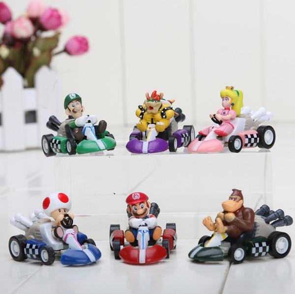 6 pçs / set super mario bros kart puxar para trás figuras de carros mario kart figura pvc bonecas