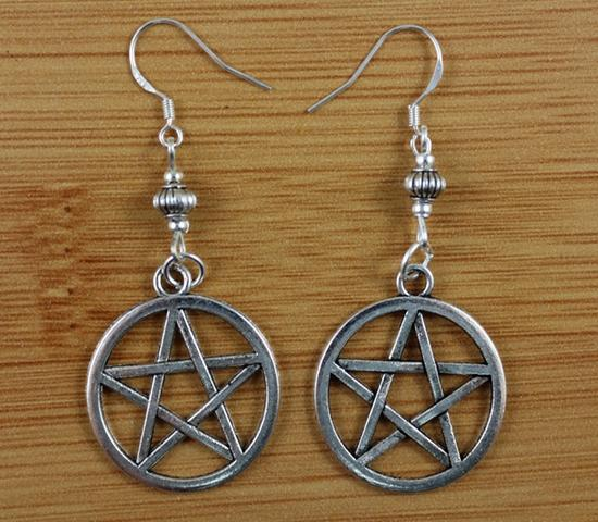 50 Pair Fashion Alloy Silvers Witchcraft Pentagram Charms Bead 925 Sterling Long Dangle Earrings For Women Jewelry Free P1573