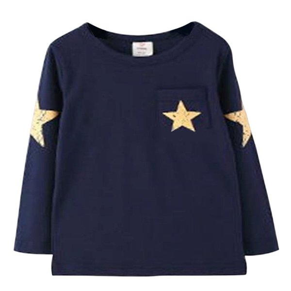 Bébé Garçon T-Shirts Motif Étoile À Manches Longues En Coton Tops Enfants Filles Printemps Vêtements Enfants Tees Casual Wear