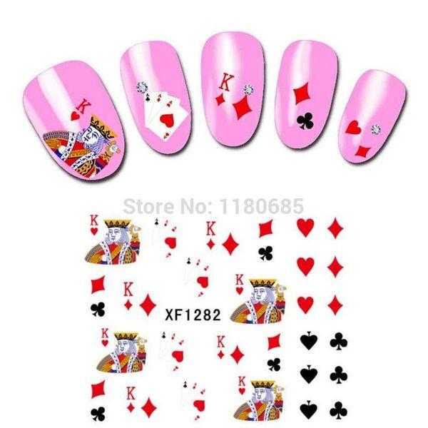 Impresionante Transferencia de Agua Nail Art Stickers Calcomanías 12 unids Tarjetas King Poker Spades Diamantes Corazón Club Diseño Foil Stamping Hot Sale