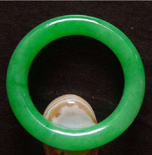 Frete grátis - Natural verde jadeite jade pulseira amuleto da sorte pulseira rodada tamanho personalizado 54-60mm
