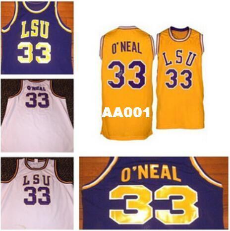 Homens # 33 Shaquille ONeal faculdade retro regressão Shaq o'neal College Jersey Ponto Bordado ou personalizado qualquer nome ou número jersey