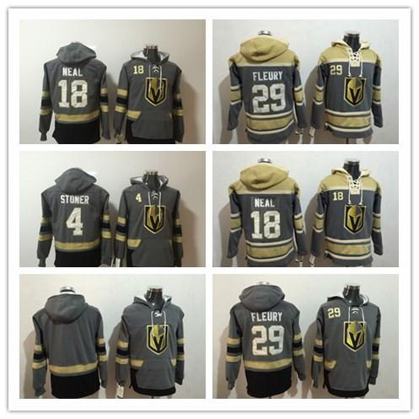 ee71073d5 2018 Vegas Golden Knights Mens Grey Old Time Hockey Hoodies 29 Marc-Andre  Fleury 18 James Neal 4 Clayton Stoner Hockey Sweatshirts Uniforms