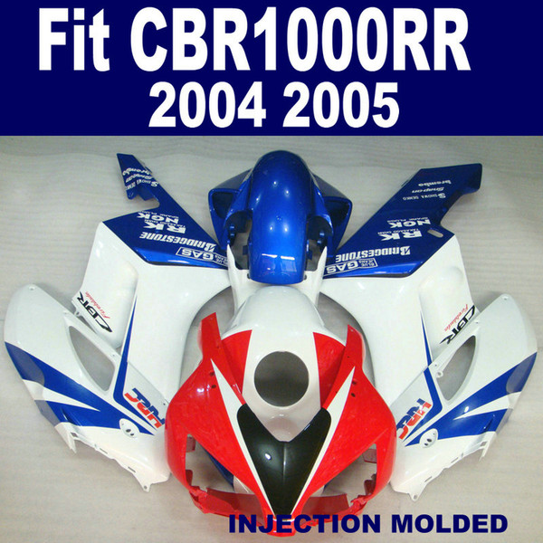 injection mold fairings bodywork for honda cbr 1000 rr 2004 2005 white red blue cbr1000rr 04 05 plastic fairing kit ka3