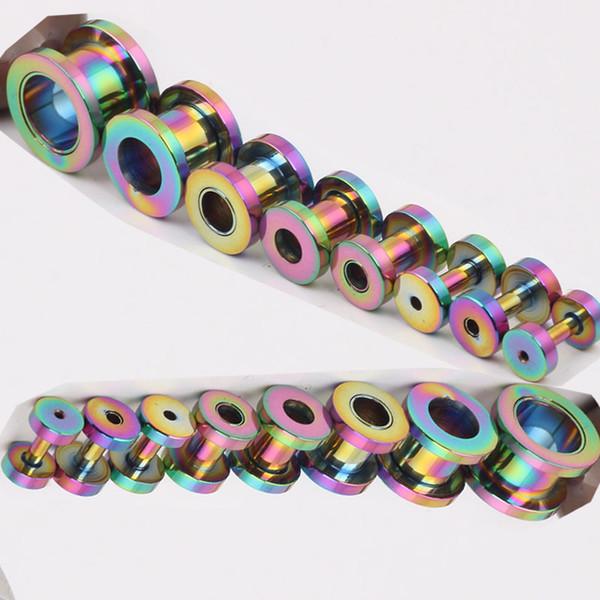 best selling 100pcs lot mix 8 size stainless steel rainbow screw flesh tunnel ear plug earring gauges pierce body jewelry