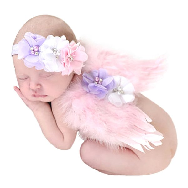 New Lovely Baby Girls Angel Wings Set Feather Butterfly Wings Flowers Photo Props Newborn Photography Props Girls Hair Accessories Infant