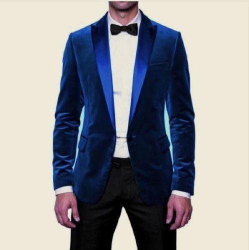 Royal Blue Velvet Mens Wedding Tuxedos Handsome Mens Suits with Satin Peaked Lapel Custom Made Groom Wedding Suits (Jacket+Pants+Bow Tie)