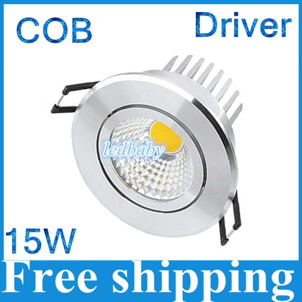 LED COB Downlight COB LED Down Light 15W 10PCS Dimmerabile Epistar Chip 100-110LM / W Garanzia 3 anni CE RoHS FCC Spedizione gratuita