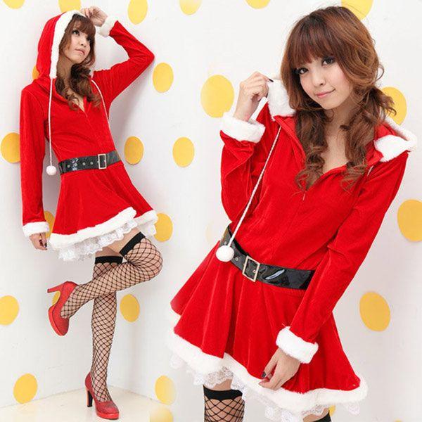 b70740c36db Women Ladies Christmas Dress Red Velvet Santa Claus Costumes Plush Ball  Decor Hooded Xmas Party Celebration