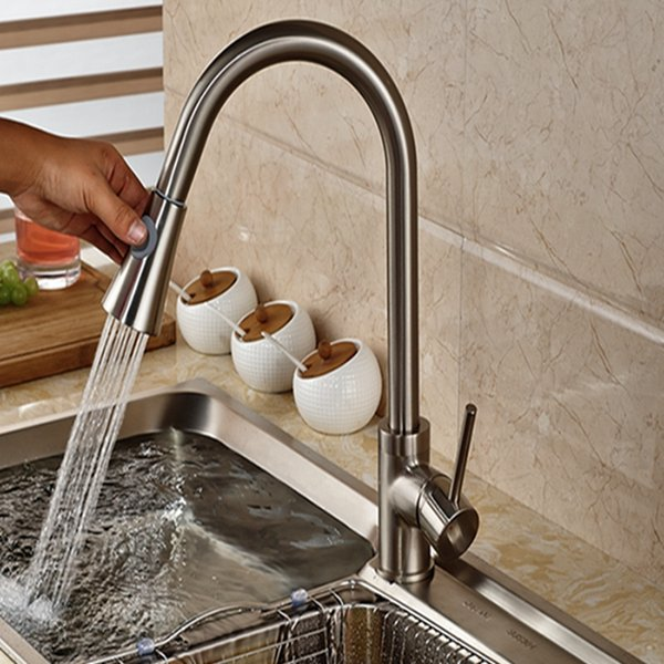 2019 Wholesale And Retail Luxury Brushed Nickel Kitchen Faucet Pull Out  Sprayer Vessel Sink Mixer Tap Deck Mounted From Gonglangno1, $79.4 | ...