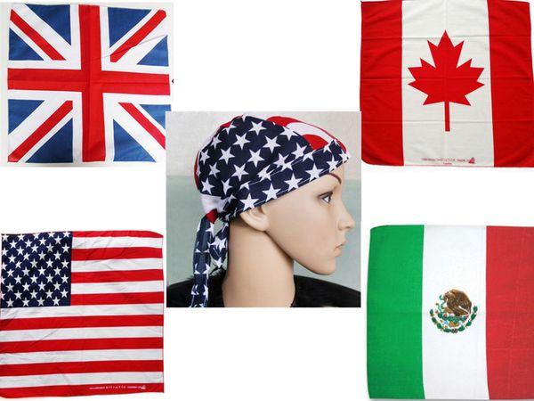 100% Cotone Bandana Capelli Beanie Tie Down Hat Head Wrap USA UK Canada Messico Bandiera Sciarpa, 12 pz / lotto spedizione gratuita