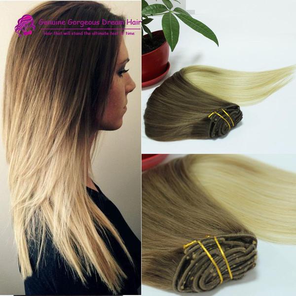 Extensions de cheveux humains 2 tons T4 / 613 OMBRE CLIP IN Extensions de cheveux humains Remy indien 120g = 7pcs ensemble STOCK