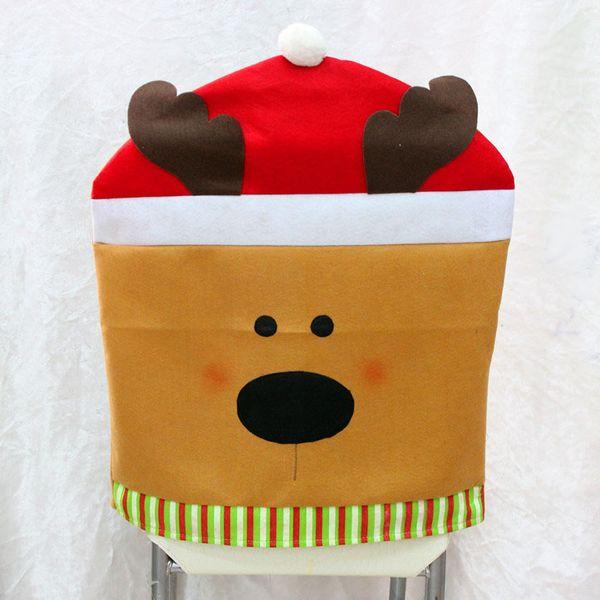 Art Christmas Gift Santa Claus / bonhomme de neige de Noël / siège de parti Elk couvre la chaise de fête couvre décoration à vendre SD710