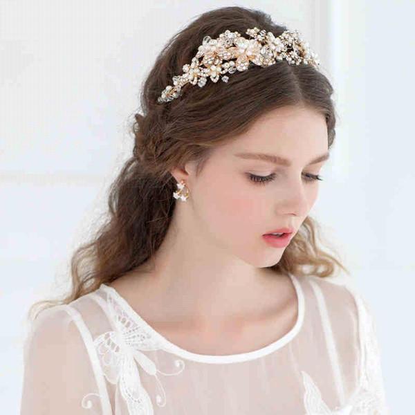 Nova Moda Acessórios Do Casamento Do Vintage Cabeça Peças Pérolas Cristais de Casamento Acessórios de Cabelo Nupcial Hairband Nupcial Decoração Do Cabelo