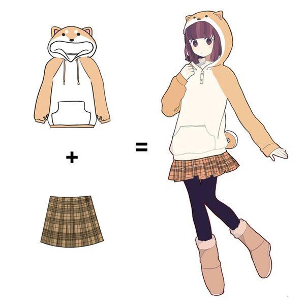 Doge lovely Muco/home has MuKe cosplay firewood dog theme hooded jacket Anime fleece. Free shipping