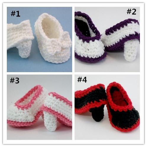 Baby High Heels Crochet Baby 4 colors Booties Shoes 0-12 MONTHS CROCHET handmade infant baby shoes