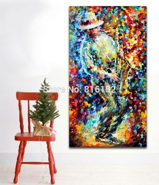Palette Knife Oil Painting Soul Saxophone Grace Cello Soul Play Picture Art Printed On Canvas For Home Office Hotel Wall Decor