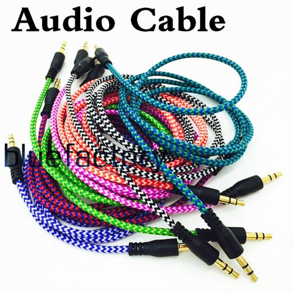 Geflochtenes Audio-Zusatzkabel 1m 3,5mm Wave AUX-Verlängerung Stecker auf Stecker Stereo-Auto-Nylonschnur-Buchse für Samsung-Telefon PC MP3 Kopfhörer-Lautsprecher