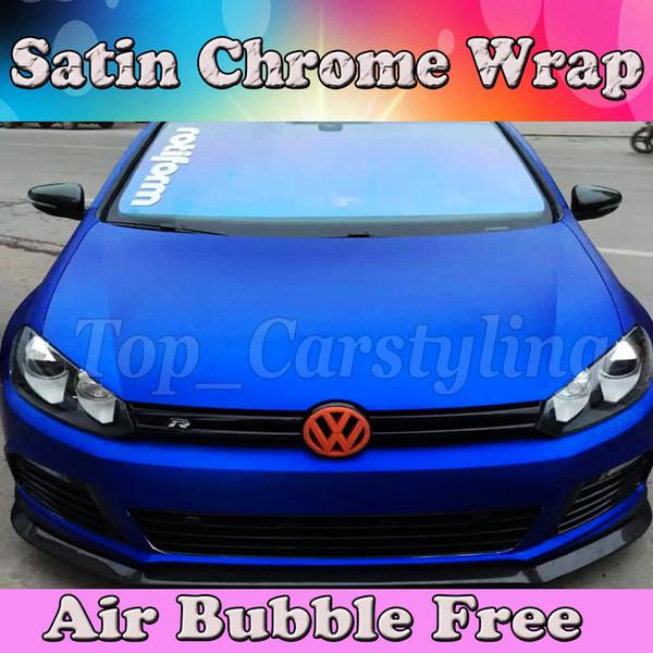 Envoltura de vinilo azul satinado con burbuja de aire. Papel de aluminio azul metálico mate cromado. Lámina adhesiva de 1,52 * 20M / rollo (5ftx66ft).