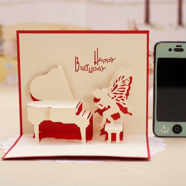 Großhandel Angel Piano Perspektive Geburtstagskarte Valentinstag Karte  Geschenkideen Englisch Schnitzen Geburtstagskarte Grußkarten