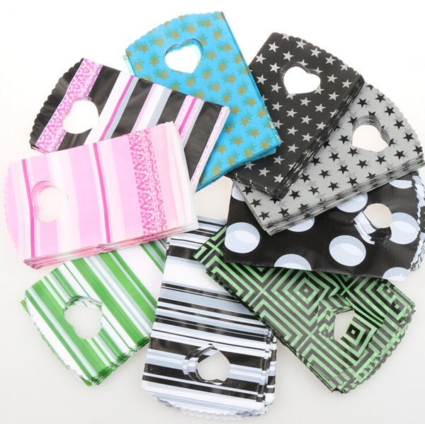 best selling 200pcs lot 9Styles Fashion 9X15cm Pink Black Green Strips Dots Plastic Bags Jewelry Gift Bag Jewelry Pouches