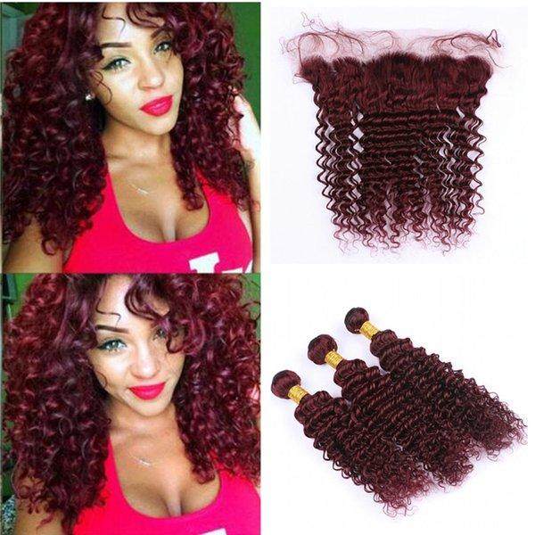 Deep Wave 99j Hair Bundles with Lace Frontal Closure Brazilian Virgin Burgundy Deep Curly Human Hair Weaves with Wine Red Lace Frontal