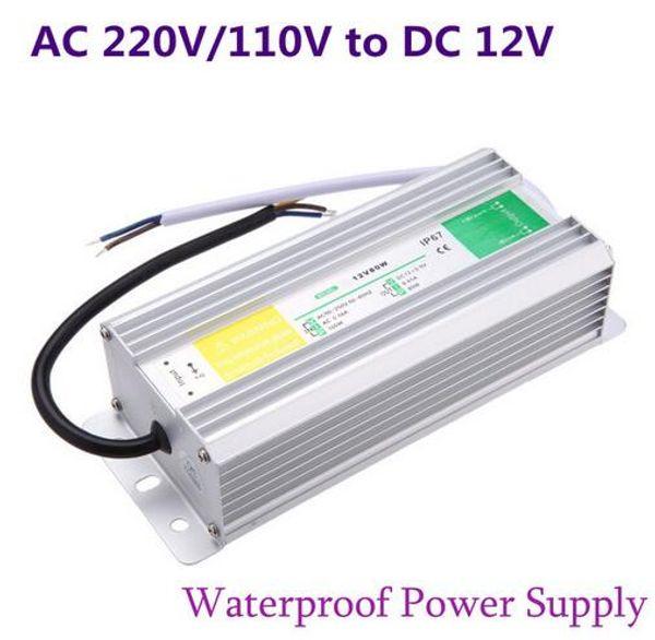 DC 12V Fuente de alimentación LED 50W 60W 80W 100W 150W Transformador impermeable IP67 para jardín al aire libre Luz de tira
