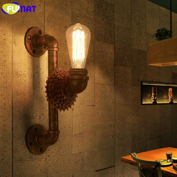 FUMAT American Vintage Industrial Water Pipe Sconces Retro Metal Wall Lamps with E27 Esison Bulb Gear Wall Lights for Cafe Bar