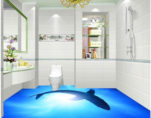 Custom photo floor wallpaper 3D stereoscopic 3D Dolphins floor 3d mural PVC wallpaper self-adhesion floor wallpaer 20156993