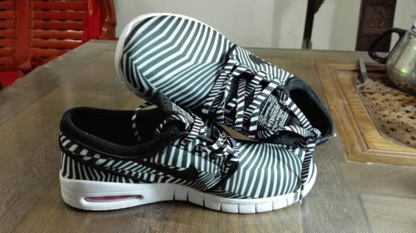 Compre Nike SB Stefan Janoski Max Zapatos De Cebra En Color De Recorrido Libre De Las Zapatillas De Deporte Nike Malla Hacia Arriba Para Hombre