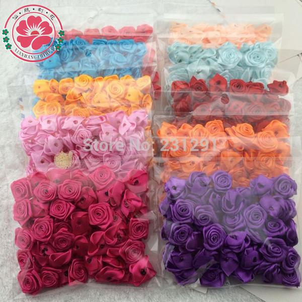Atacado-500pcs freeshipping (ordem da mistura) Branco 25mm fita de cetim flor rosa para flores de roupas de artesanatoWedding 500pcs 1-51-4.5