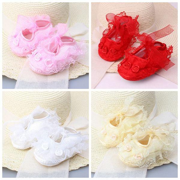 Yeni Bebek Yenidoğan Bebek Sevimli Kız Tığ Dantel Çiçek Lace up Ayakkabı 0-12 m prewalker ücretsiz kargo