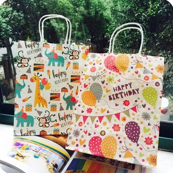 27x21x11cm Happy Birthday gift bag paper,Kraft paper gift bag with handles Cartoon Animals,Balloons Design Packaging bag 30pcs