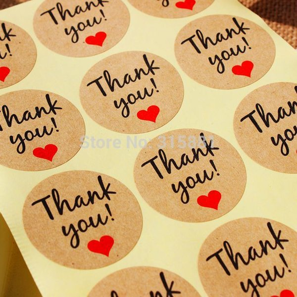 """Kraft Paper """"Thank You"""" Adhesive Label with Red heart, Diameter 38mm Seal Label Sticker for DIY Gift decoration and Cake Baking Packing"""