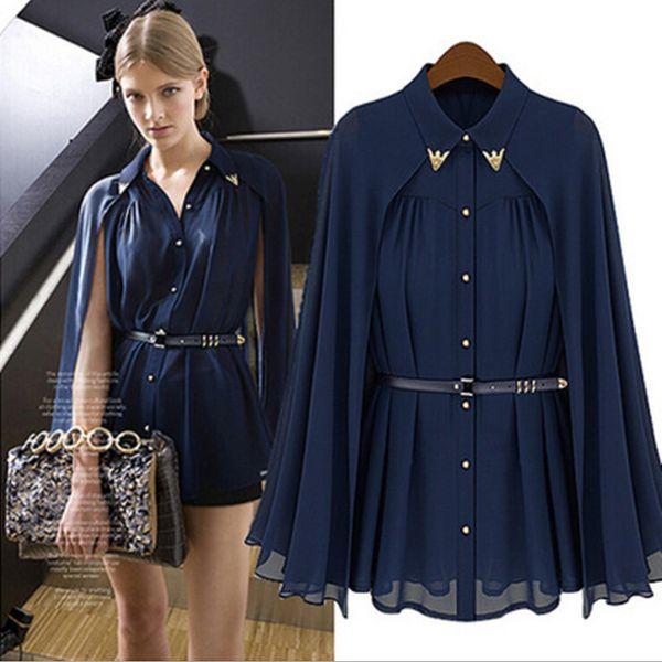 Nouvelle arrivée 2016 mode dames tops blouses Lâche châle cape-style en mousseline de soie cardigan protection contre l'épaule chemises chemisiers pour les femmes