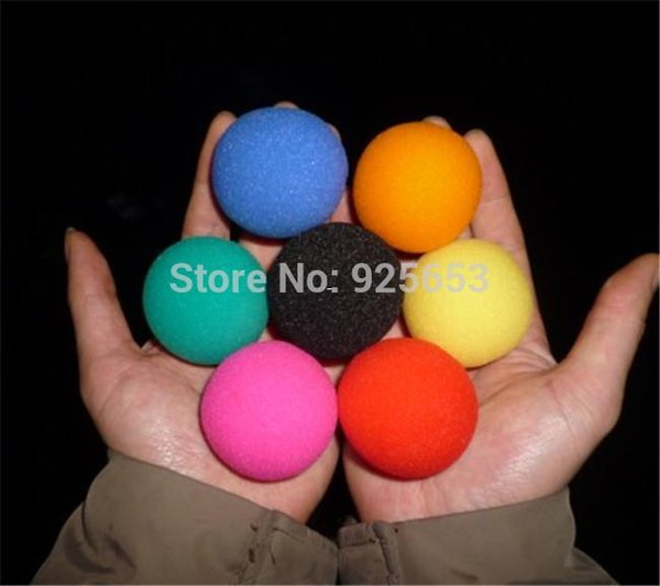 "Free Shipping! 20 pcs/lot Magic Sponge Ball 1 4/5"" (4.5 cm in diameter) red blue yellow green pink orange black hand magic trick"