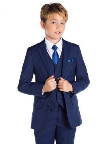 Blue Flower Boys Children Wedding Groom Tuxedos Kid's Formal Party Prom Suits 3 pieces (jacket + pants + vest) custom made