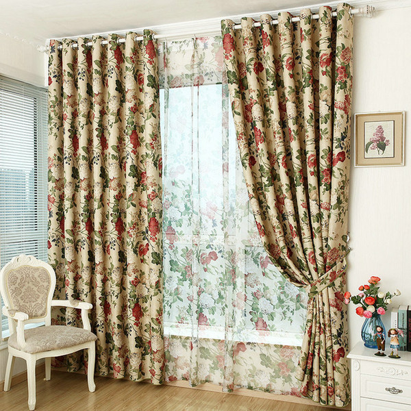 top popular Window Curtain For Kitchen  Living Room Blackout Curtain + Tulle Floral Rustic Furnishing Customized Ready Made Shades 2020