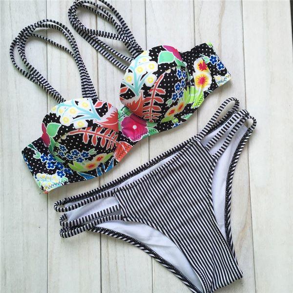 Hot Selling Stripsky Bikini Brazilian 2015 Sexy Swimsuits Bottoms and Tops Women Bathing Suits Swim Wear